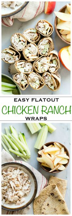 Easy chicken ranch wraps with cucumber and apples. The perfect healthy after school snack for kids - Foodness Gracious