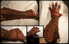 It's a steampunk style bracer and glove made with rawhide. Also see: Rawhide Gauntlets