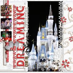 page Christmas Scrapbook Layouts, Love Scrapbook, Disney Scrapbook Pages, Scrapbook Layout Sketches, Scrapbook Templates, Scrapbook Designs, Scrapbooking Layouts, Christmas Layout, Theme Mickey
