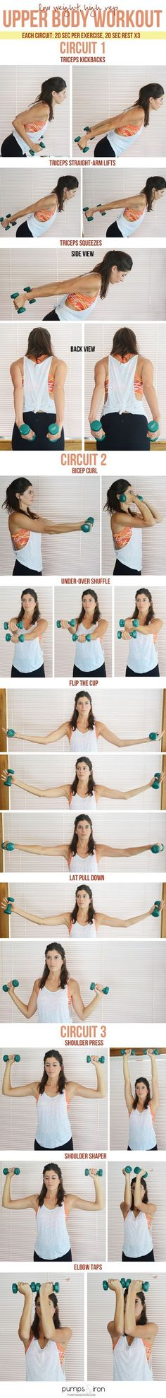 15-Minute Upper Body Workout (low weights, high reps)