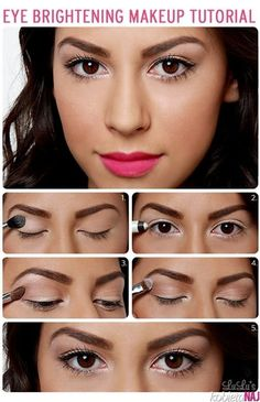 How to brighten up your eyes! Finish the look off with a bright pink lipstick! A nude lip would also be a good substitute for this look!