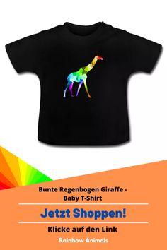 Kaufe dir jetzt dieses Baby T-Shirt für dein jüngstes Familienmitglied. Lass dir dieses und weitere Tier-Zeichnungen auf deine Baby-Mode drucken   Schau jetzt in unserem Shop vorbei! Klicke jetzt auf den Link! #Baby #Babytshirt #Babymode #Giraffe #Rainbowanimals #Tiere #Säugetiere #Animals