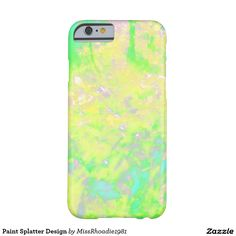 Paint Splatter Design Barely There iPhone 6 Case Paint Splatter art can be fun an easy. Add this art to your iphone6 case with this dazzling lime colored paint splatter design. This iphone6 cover is made from form-fitting featherlight material this iphone6 case covers your phone without compromising your access to your screen, buttons, microphone, and speaker. Customize with your text, photos, etc. Purchase your iphone case today!