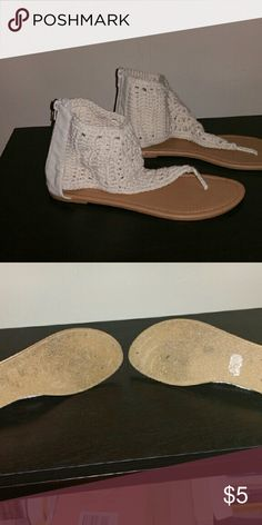 REPOSH sandals Super soft, crochet, ankle bootie sandals. Too narrow for me. Off white Shoes Sandals