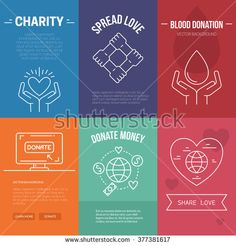 Collection of vector banner templates with charity objects. Poster for non-profit organizaiton, fundraising event, volunteer centre. Vector line style illustration.