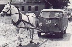 real horsepower - vw camper being pulled by a horse. #vintage #volkswagens