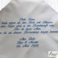 Hochzeit: Freudentränen-Taschentuch mit individuellem Text für das blumenkind | http://uniqz.de/produkte/hochzeit-freudentraenen-taschentuch-mit-eigenem-text/