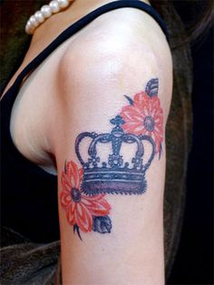 Crown and Flower Tattoo - 50 Meaningful Crown Tattoos  <3 <3