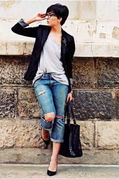 Blue Guess Jeans Black Pull Blazer Black Mango Bag Black Zara Pumps