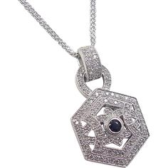 Vintage 14k White Gold 2.00 ctw Diamond and Sapphire Necklace from arnoldjewelers on Ruby Lane