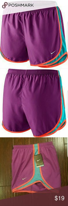 "NWT Nike Tempo Running Shorts FIRM PRICE! Maximize your workout with these 3 inch dri-fit running shorts. Nike Dry fabric helps to keep you cool while the 3"" inseam allows for full range of motion. Other features include a drawcord at waistband, ventilation side panels, one media/key pocket, and a polyester crepe liner. Color is Cosmic Purple/Omega Blue/Crimson. Never been worn. Tag is still attached. Nike Shorts"