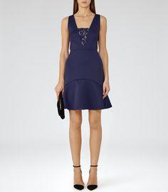 Womens Indigo Lace-insert Dress - Reiss Hudson