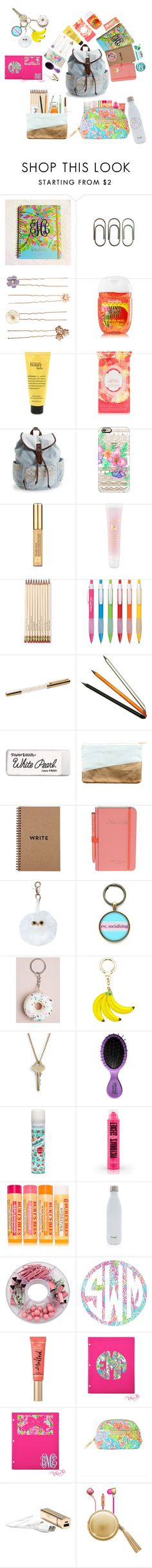 """""""What's in my Backpack/RTD please!"""" by pastelsummer ❤ liked on Polyvore featuring Clips, Accessorize, Pacifica, Aéropostale, Casetify, Estée Lauder, Lancôme, Kate Spade, Jac Zagoory Designs and Paper Mate"""