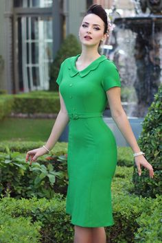 50s Thea Pencil Dress!  groen