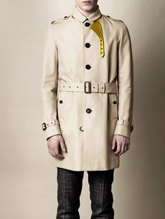 Burberry Prorsum metallic leather trimmed trench