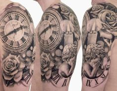Time Tattoo... I like this. Maybe if your partner died, clock for what time your wedding started, the scroll with numbers could be the day they died. I like this
