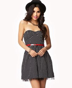 Tulle-Lined Polka Dot Dress   FOREVER21 - 2038637459 - $24.80. Cute, has a pin up vibe to it