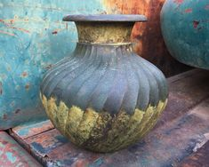 Vintage Hand Forged Mixed Metal Water Pot Swirled Ribbed Design from India, Verdigris Patina