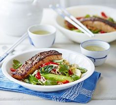 Crispy Asian salmon with stir-fried noodles, pak choi & sugar snap peas. Pack your stir-fry with vegetables and top with marinated fish. This recipe cooks enough salmon for lunch the next day