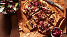 Roasted black fig and gorgonzola pizza with pickled onion and vincotto