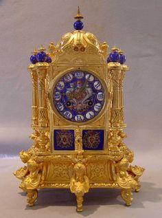 Antique French ormolu & enamel mantel clock