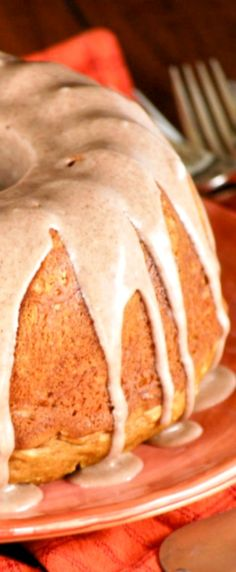 Pumpkin Cake with Cinnamon Glaze. This is a super easy, really delicious pumpkin cake that only uses 4 ingredients. It's topped with a really yummy cinnamon glaze.