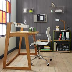 Not a fan of the desk, but simple floors and gray trim and accent wall might work for the office.