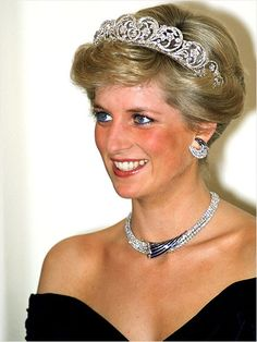 Diana Frances Spencer, Princess of Wales (1961-1997) wearing the Spencer family tiara.