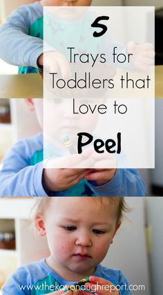 5 Trays for Toddlers that Love to Peel - fun and easy Montessori inspired way to engage toddlers that love to peel and pick. These activities aren't just fun but they also encourage concentration and fine motor skills. Montessori Toddler, Montessori Activities, Infant Activities, Toddler Preschool, Preschool Activities, Montessori Bedroom, Montessori Materials, Montessori Classroom, Learning Games For Kids