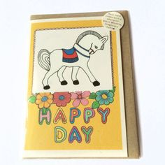 Rosie Wonders Happy Day Card With Temporary Horse Tattoo