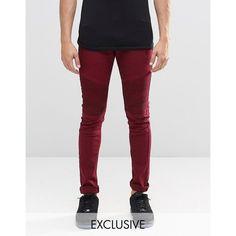 Liquor & Poker Super Skinny Jeans Biker Burgundy ($34) ❤ liked on Polyvore featuring men's fashion, men's clothing, men's jeans, red, mens red jeans, mens super skinny jeans, mens skinny jeans, mens red skinny jeans and mens biker jeans