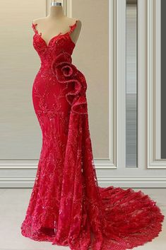 Red Lace Prom Dress, Mermaid Prom Dresses, Red Mermaid Wedding Dress, Sexy Evening Dress, Evening Gowns, Red Evening Dresses, Red Gowns, Evening Party, Elegant Dresses