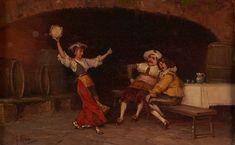 Martín Rico - Interior de la taberna con una bailarina