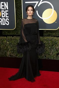 Angelina Jolie Brings Son Pax to the 2018 Golden Globes in Feather-Adorned Dress