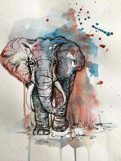 Mixed Media Elephant Art Print, Animal Art, Home Decor, Nursery Artwork - Mixed media elephant print - Animal Paintings, Animal Drawings, Art Drawings, Indian Paintings, Art Paintings, Elephant Sketch, Elephant Art, African Elephant, Watercolor Animals