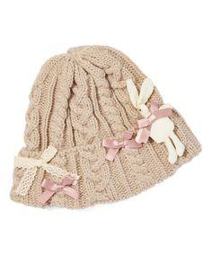 Look at this #zulilyfind! Taupe Knit Bow Beanie #zulilyfinds