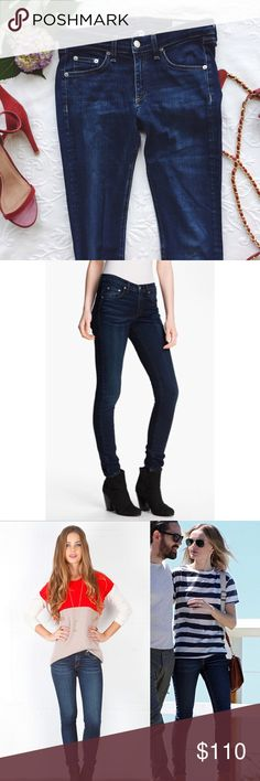 {rag&bone} dark wash skinny jeans Gently worn. Slight stretch in the denim makes it very comfy rag & bone Jeans Skinny