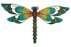 Metal Dragonfly Wall Art Decor Sculpture Dragonflies Hanging Garden Blue 29-Inch