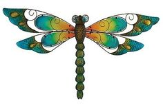 Metal Dragonfly Wall Art Decor Sculpture Dragonflies Hanging Garden Blue 29-Inch