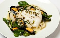 Richard Corrigan's turbot with mussels recipe is everything a seafood dish should be: seasonal, quick to prepare and luxurious. Salsify is an underrated British ingredient and adds a nice rooty note to this dish. Oven Dishes, Fish Dishes, Seafood Dishes, Fish And Seafood, Fish Recipes, Seafood Recipes, Low Carb Recipes, Cooking Recipes, Healthy Recipes