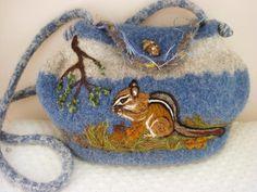 www.feltedfantasies.com, felted purse, felted handbag, felted tote, wearable art, fiber art, needle felt art, animal art,$165