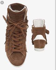 Barbara Bui Suede Fringe Trim Hi Top Sneakers