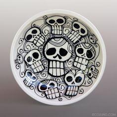 Day of the Dead Skulls Dia De Los Meurtos by LunaGraphica, $24.00