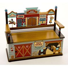 Lasso up loads of style with this nostalgic childrens storage bench, a fun addition to a kids western-themed bedroom. Depicting the scene of an old Wild West town, your little sheriff can store toys galore under the slow-closing, safety-hinged lid.