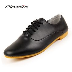 Plardin 2018 Woman ballet flats pointed toe Solid lace up leather shoes  Fashion Leisure women shoes 494f1a077e4f
