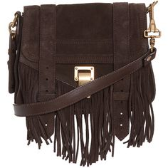PROENZA SCHOULER Ps1 Mini Fringe Suede Bag (€5.090) ❤ liked on Polyvore featuring bags, handbags, shoulder bags, bolsas, purses, accessories, bolsos, brown suede handbag, fringe purse i mini shoulder bag