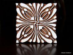 Hand Carved Indian Wood Textile Stamp Block- Square Art Deco Floral Design. $29.50, via Etsy.