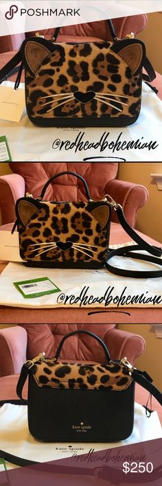 "Kate Spade Run Wild Leopard Janine  Crossbody NWT This Adorable Leopard Crossbody with his 14k gold plated whiskers & black suede nose will make you Fall In Love!❤️  SIZE: 6.5"" w x 4.8"" h x 2.1"" d 4"" drop from handle  MATERIAL: •cowhide leather and haircalf  •quick &curious lining  DETAILS: •crossbody with magnetic closure •dual interior slide pockets •style # pxru8118 •imported  This is for the *Handbag Only* I will have the coin purse on a Separate Listing!! Price Is Firm! No Trades Ever…"