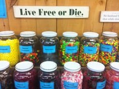 The world's longest candy counter. Chutters. Littleton, NH.