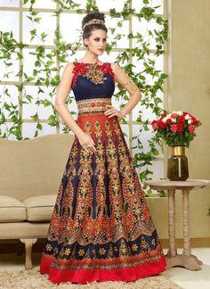 Navy Blue Bhagalpuri Silk Designer Gown
